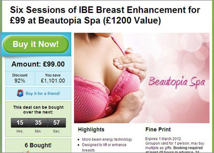 Groupon breast enhancement ad is banned by The ASA