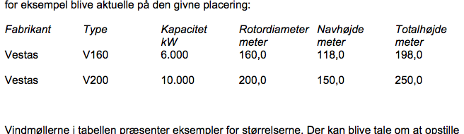 A section of the planning application to Denmark's Nature Agency