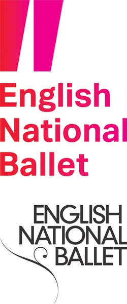 English National Ballet's new branding (above) and old logo
