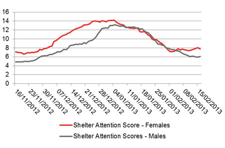 Shelter Attention Scores – Males and Females, 16 November 2012 – 16 February 2013