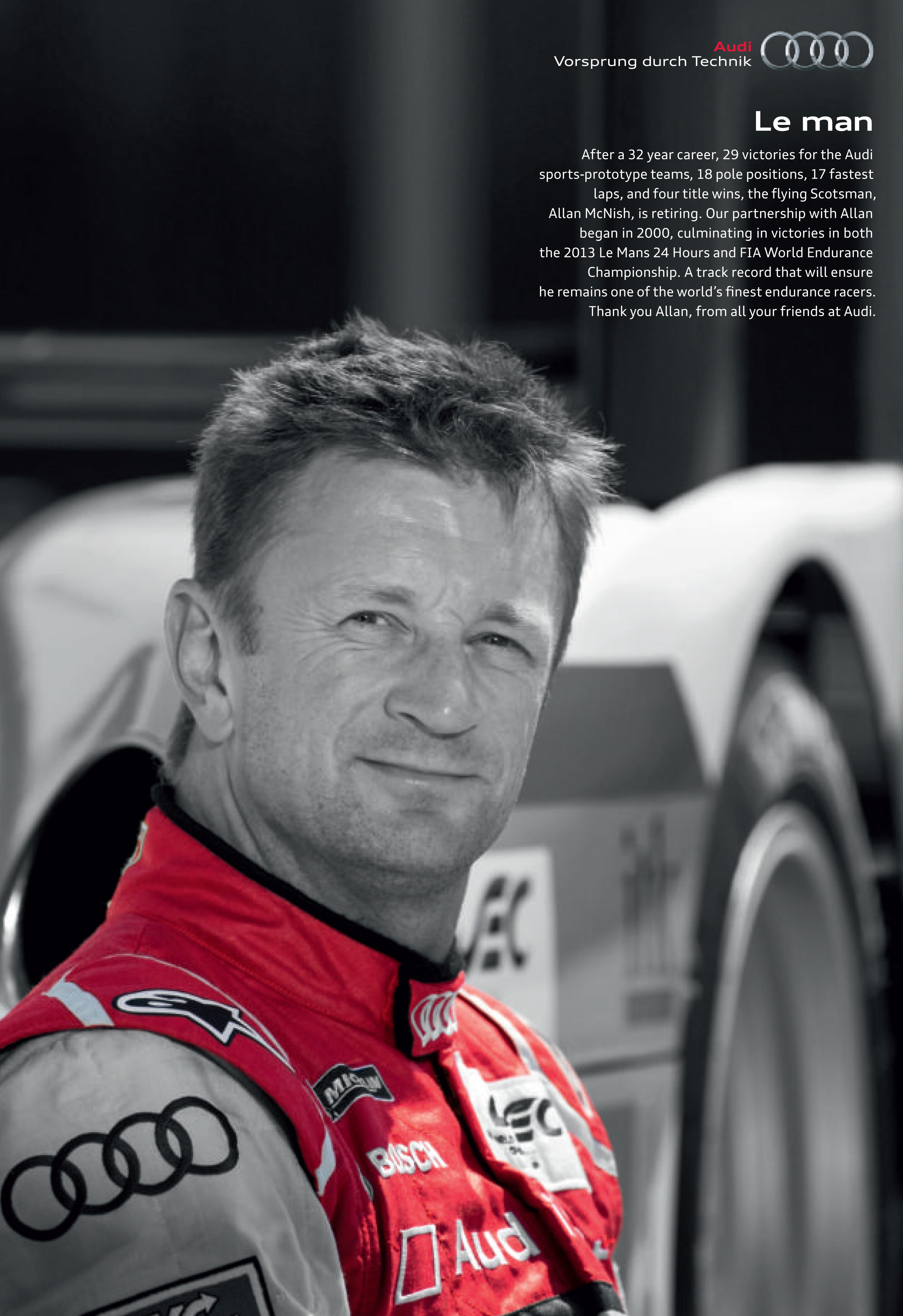 Audi's tribute to Allan McNish