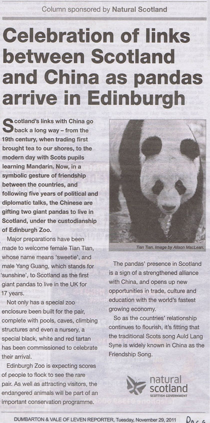 ASA raps Scotland's panda 'gift' claim
