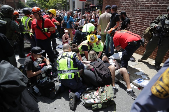 First responders attend to those injured in Charlottesville by neo-Nazi James Fields Jr.