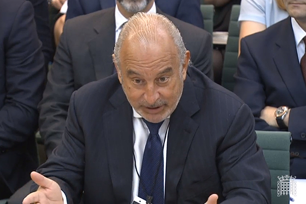 Phillip Green faces MPs on the Select Committee (pic credit: PA Wire)