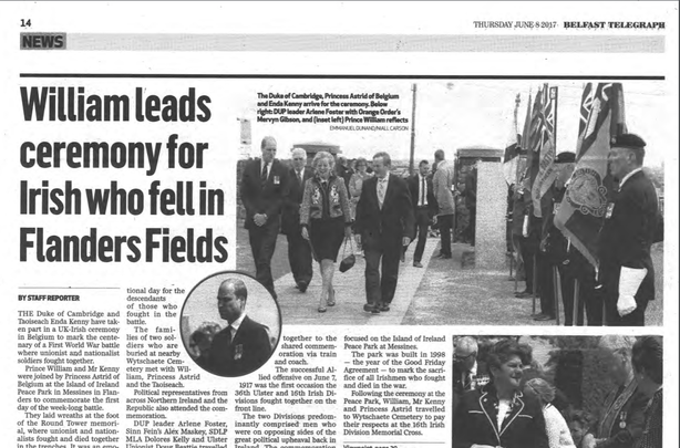 Coverage of the event in the Belfast Telegraph