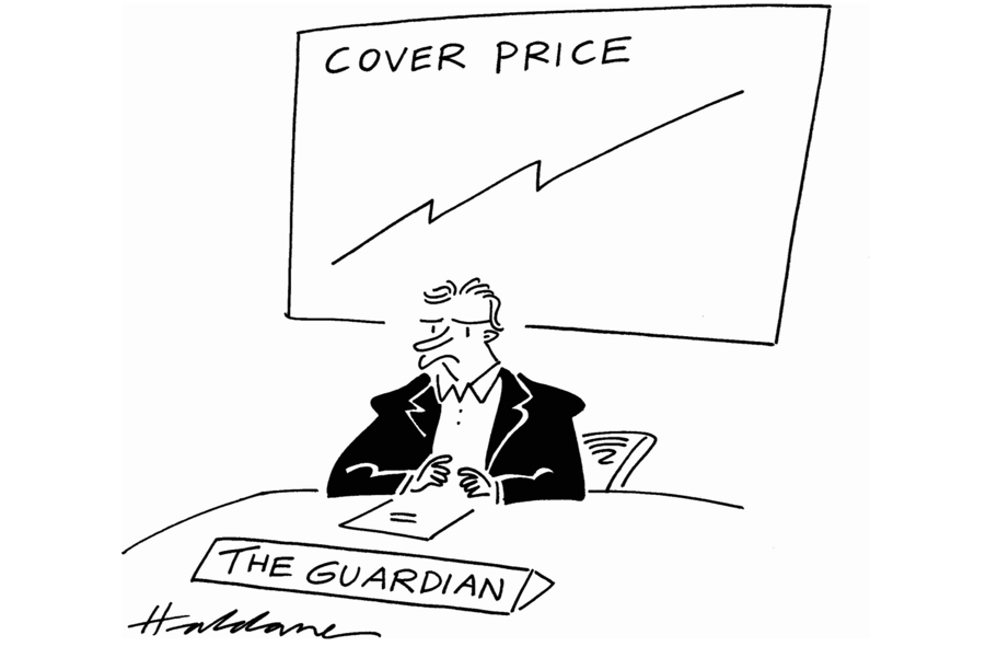 Cartoon of Guardian's rising coverprice