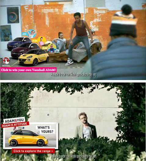 Vauxhall target ads to women (top) and men (bottom)