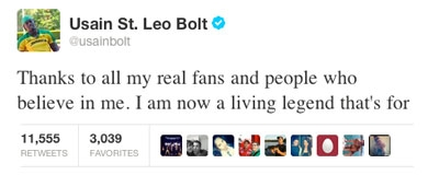 Usain Bolt's Tweet after winning 100m and 200m finals