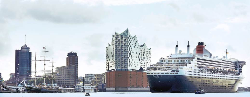 Queen Mary II and Elbphilharmonie