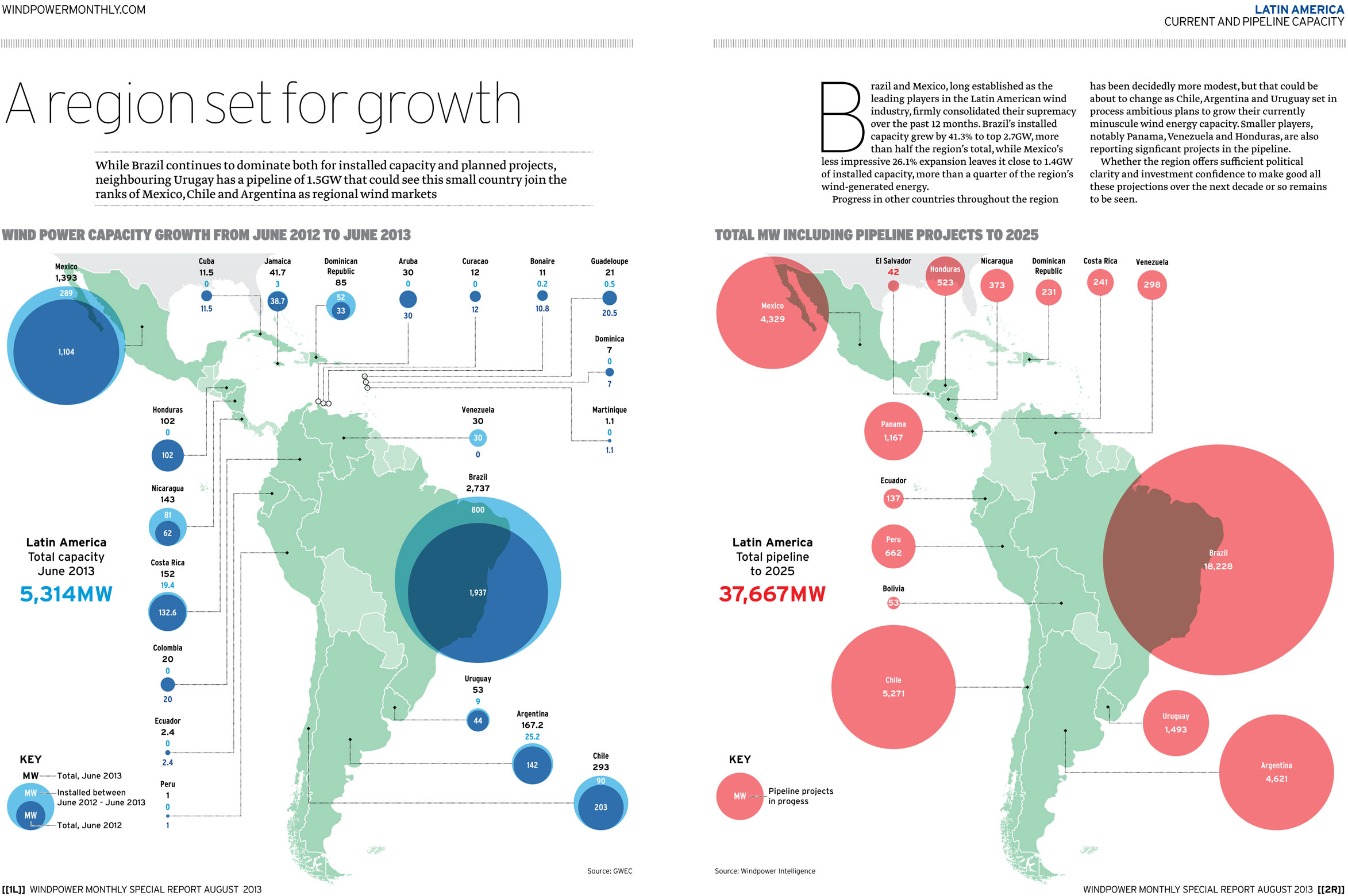 Map: Wind power in Latin America