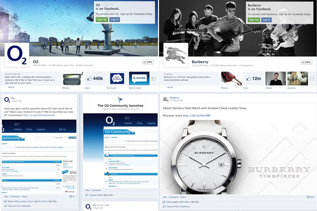 Facebook pages from O2 and Burberry