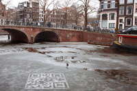 QR code on Amsterdam canal ice for WWF