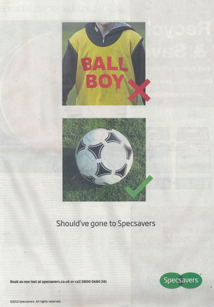Specsavers runs tongue-in-cheek ad on Hazard ballboy incident