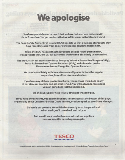 Tesco print ads apologise for horsemeat contamination