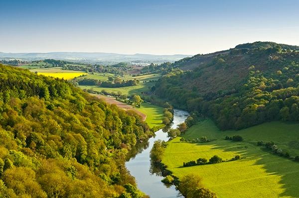 A UK river snaking through a valley