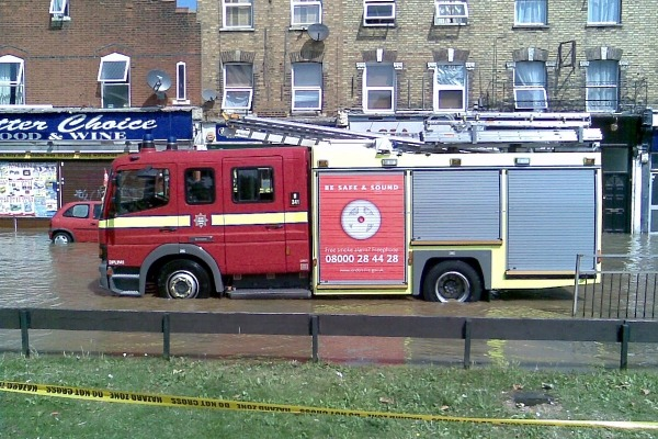 Fire brigade attends burst water main