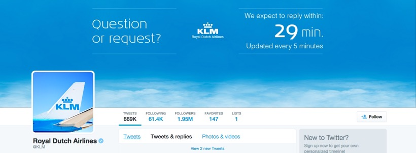 KLM Twitter profile